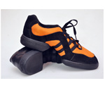 Black synthetic velvety orange sneaker shoes
